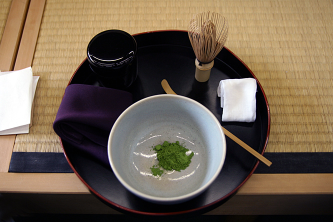 Japan: tea ceremony, matcha powder