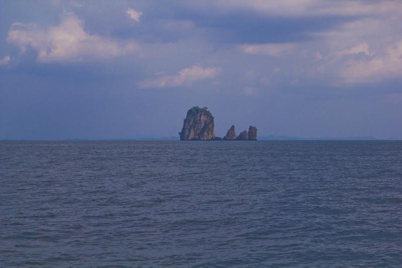 Lonesome island in a blue ocean